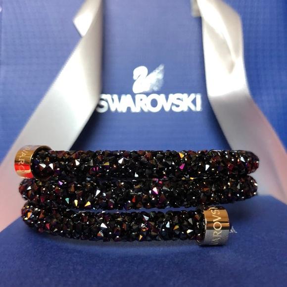 67f7320911ce4 NEW SWAROVSKI BLACK PINK CRYSTAL DUST BANGLE M NWT